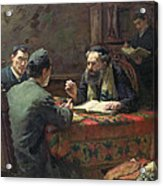 A Theological Debate Acrylic Print by Eduard Frankfort