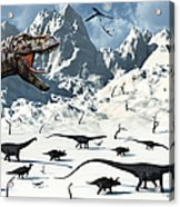 A  Tyrannosaurus Rex Stalks A Mixed Acrylic Print by Mark Stevenson