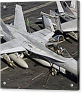A Us Navy Fa-18c Hornet Parked Acrylic Print by Giovanni Colla