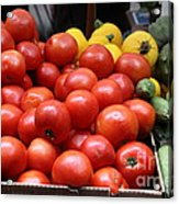 A Variety Of Fresh Tomatoes Zucchinis And Artichokes - 5d17818 Acrylic Print by Wingsdomain Art and Photography