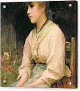 A Venetian Flower Girl Acrylic Print by Sir Samuel Luke Fildes
