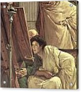 A Visit To The Studio Acrylic Print by Sir Lawrence Alma-Tadema