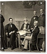 Abraham Lincoln At The First Reading Of The Emancipation Proclamation - July 22 1862 Acrylic Print by International  Images