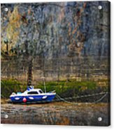 Abstract Harbour And Boat Acrylic Print by Svetlana Sewell