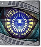 Abstract Robot Eye Acrylic Print by Nattapon Wongwean