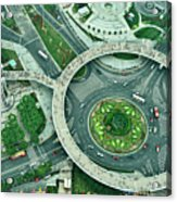 Aerial View Of Shaghai Traffic Acrylic Print by Ixefra