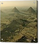 Aerial View Of The Pyramids Of Giza Acrylic Print by Kenneth Garrett