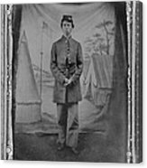 African American Soldier Posed In Front Acrylic Print by Everett