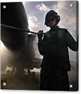Airman Holds Up The Safety Shot Line Acrylic Print by Stocktrek Images