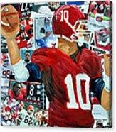 Alabama Quarter Back Passing Acrylic Print by Michael Lee
