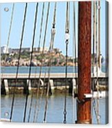 Alcatraz Island Through The Hyde Street Pier In San Francisco California . 7d14148 Acrylic Print by Wingsdomain Art and Photography