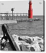 Algoma Lighthouse Is Anchored Acrylic Print by Mark J Seefeldt