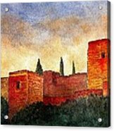 Alhambra At Sunset Acrylic Print by Barbara Smith