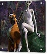 Alien And Dog Acrylic Print by Daniel Eskridge