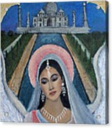 Amishi An Earth Angel Representing A Young Bride On Her Wedding Day Acrylic Print by The Art With A Heart By Charlotte Phillips
