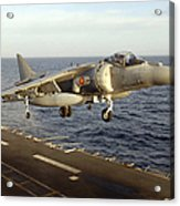 An Av-8b Harrier II Prepares To Land Acrylic Print by Stocktrek Images