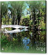 Another White Bridge In Magnolia Gardens Charleston Sc II Acrylic Print by Susanne Van Hulst