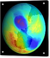 Antarctic Ozone Hole, September 2002 Acrylic Print by Nasa