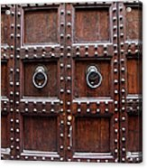 Antique Wood Door In Florence Acrylic Print by Giuseppe Ceschi