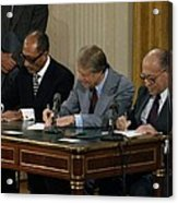 Anwar Sadat Jimmy Carter And Menahem Acrylic Print by Everett