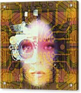 Artificial Intelligence: Face And Circuit Board Acrylic Print by Mehau Kulyk