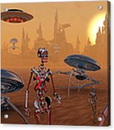 Artists Concept Of Life On Mars Long Acrylic Print by Mark Stevenson