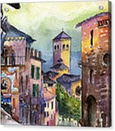 Assisi Street Scene Acrylic Print by Lydia Irving