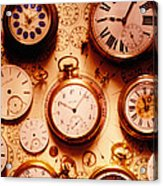 Assorted Watches On Time Chart Acrylic Print by Garry Gay