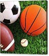 Assortment Of Sport Balls On Grass Acrylic Print by Sandra Cunningham