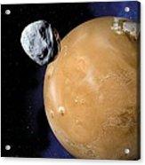 Asteroid Near Mars, Artwork Acrylic Print by Detlev Van Ravenswaay