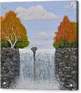 Autumn Waterfall Acrylic Print by Georgeta  Blanaru