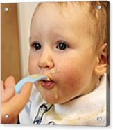 Baby Boy Being Fed Acrylic Print by Tek Image