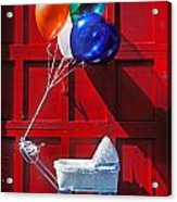 Baby Buggy With Balloons  Acrylic Print by Garry Gay