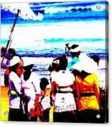 Balinese Beach Funeral  Acrylic Print by Funkpix Photo Hunter