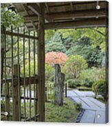 Bamboo Gate And Traditional Arch Acrylic Print by Douglas Orton
