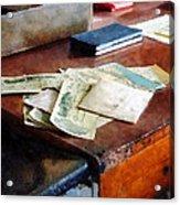 Bank Checks Dated 1923 Acrylic Print by Susan Savad