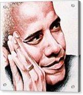 Barack Obama Acrylic Print by A Karron