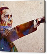 Barack Obama Watercolor Acrylic Print by Stefan Kuhn