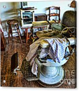 Barber Chair With Child Booster Seat Acrylic Print by Paul Ward