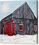 Barn In Snow Southbury Ct Acrylic Print by Stuart B Yaeger