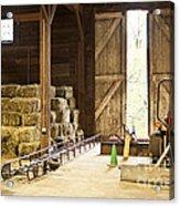 Barn With Hay Bales And Farm Equipment Acrylic Print by Elena Elisseeva