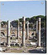 Base Of Trajan's Column And The Basilica Ulpia. Rome Acrylic Print by Bernard Jaubert