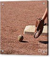 baseball and Glove Acrylic Print by Randy J Heath
