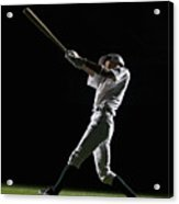 Baseball Batter Swinging Bat, Side View Acrylic Print by PM Images