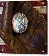 Baseball Mitt With Earth Baseball Acrylic Print by Garry Gay