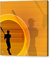 Baseball Player About To Swing, Silhouette (digital) Acrylic Print by Chad Baker