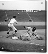 Baseball. Ty Cobb Safe At Third Acrylic Print by Everett