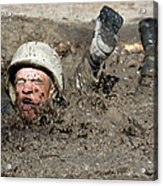 Basic Cadet Trainees Attack The Mud Pit Acrylic Print by Stocktrek Images