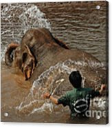 Bath Time In Laos Acrylic Print by Bob Christopher