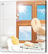 Bathroom Interior Still Life Acrylic Print by Amanda Elwell